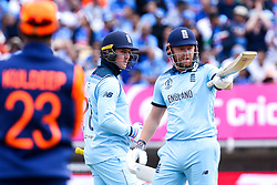 Jonny Bairstow of England raises his bat to celebrate reaching 50 against India - Mandatory by-line: Robbie Stephenson/JMP - 30/06/2019 - CRICKET - Edgbaston - Birmingham, England - England v India - ICC Cricket World Cup 2019 - Group Stage
