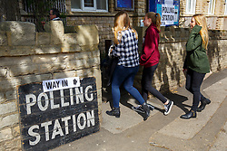 © Licensed to London News Pictures. 07/05/2015. LONDON, UK. Young people voting in the 2015 General Election at Broomhall Centre Polling Station in Sheffield Hallam Constituency on Thursday, 7 May 2015. Photo credit: Tolga Akmen/LNP