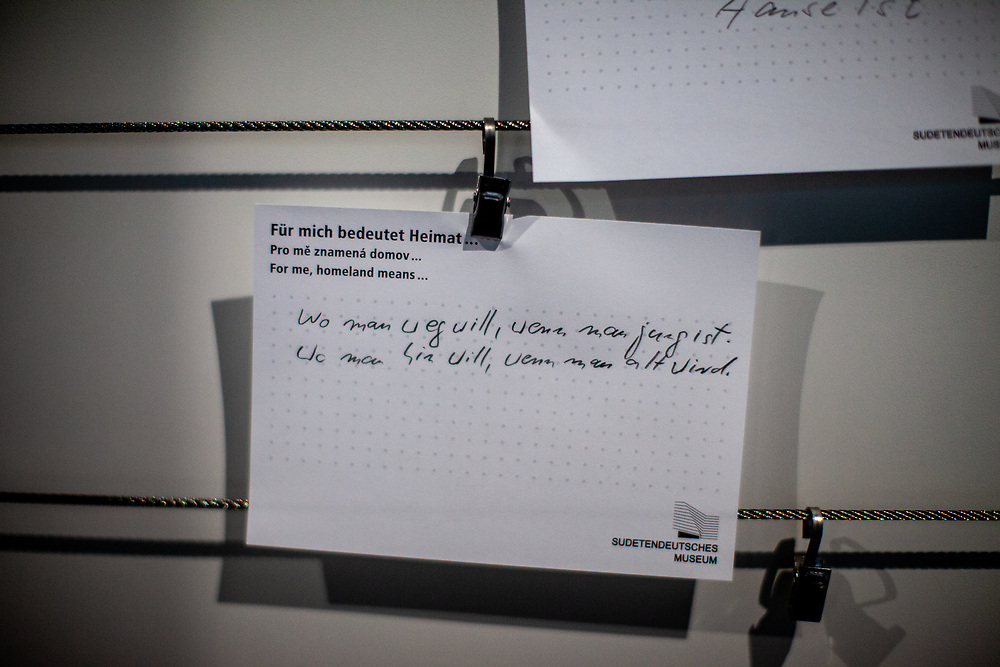 Quotations by visitors what homeland means to them at the exhibition space of The Sudeten German Museum in Munich. Its permanent exhibition spans 1100 years of history, art and cultural history, presented in authentic objects from its collections, on an exhibition area of 1200 square meters.