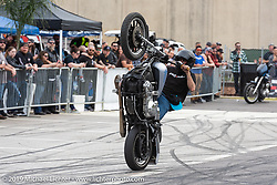 Stunters do their thing at the Dyna-FXR show at the Ace Cafe during Daytona Bike Week. Orlando, FL. USA. Saturday March 10, 2018. Photography ©2018 Michael Lichter.