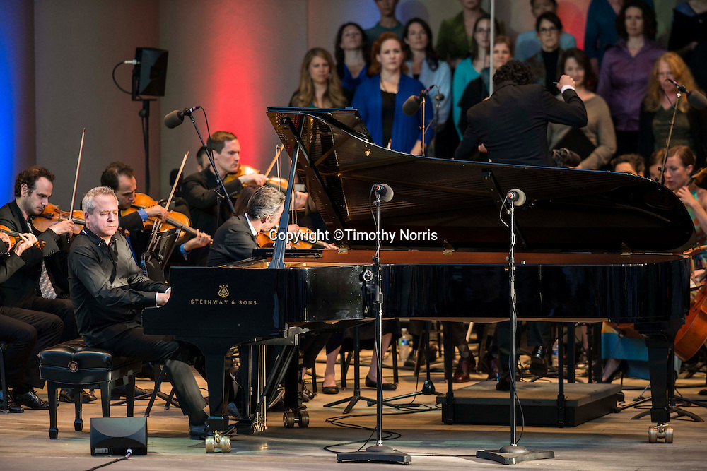 """Jeremy Denk (piano), The Knights conducted by Eric Jacobsen and soloists Cheryl Cain (soprano), Christa Pfeiffer (soprano), Heidi Waterman (alto), John Davey Hatcher (bass), Chung-Wai Soon (baritone) and Jeff Fields (bass) perform Beethoven's Fantasy in C Minor for Piano, Chorus, and Orchestra, Op. 80, """"Choral Fantasy"""" at the 68th Ojai Music Festival at Libbey Bowl on June 15, 2014 in Ojai, California."""