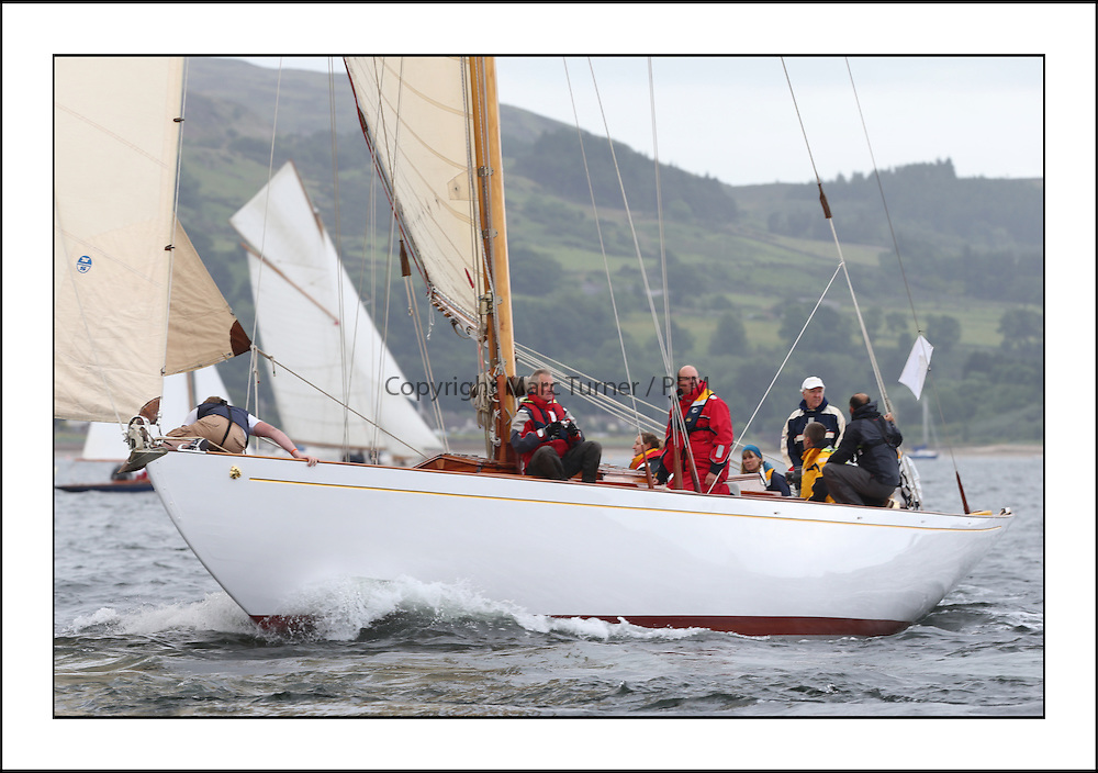 Day one of the Fife Regatta, Round Cumbraes Race.<br /> Solway Maid, Roger Sandiford, GBR, Bermudan Cutter, Wm Fife 3rd, 1940<br /> <br /> * The William Fife designed Yachts return to the birthplace of these historic yachts, the Scotland's pre-eminent yacht designer and builder for the 4th Fife Regatta on the Clyde 28th June–5th July 2013<br /> <br /> More information is available on the website: www.fiferegatta.com