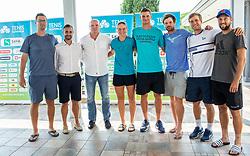 Miha Mlakar, Aljaz Kos, Đenio Zadković, Ziva Falkner, Blaz Rola, Blaz Kavcic, Matic Spec and Tom Kocevar Desman during press conference of Tenis Slovenija, on August 11, 2020 in Portoroz / Portorose, Slovenia. Photo by Vid Ponikvar / Sportida