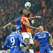Galatasaray's Tebily Didier Yves Drogba (C) during their UEFA Champions League Round of 16 First leg soccer match Galatasaray between Chelsea at the AliSamiYen Spor Kompleksi in Istanbul, Turkey on Wednesday 26 February 2014. Photo by Aykut AKICI/TURKPIX