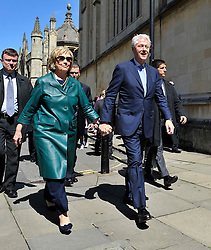 © London News Pictures. 10/05/2014. Oxford, UK. Former US President Bill Clinton and his wife, former United States Secretary of State, Hillary Clinton at Radcliffe Square in Oxford where their daughter Chelsea Clinton graduated today (Sat) receiving a doctorate degree in international relations from Oxford University. Photo credit: Mark Hemsworth/LNP