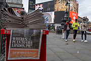 With more fears for the UK economy and the postponement for the next budget during the Coronavirus pandemic, the headline of the Evening Standard newspaper in Piccadilly Circus asks Prime Minister Boris Johnson where is the plan for London?, 24th September, in London, England. New restrictions are being re-introduced by the government after a sudden climb in the Covid infection rate, a predicted 'second spike'.