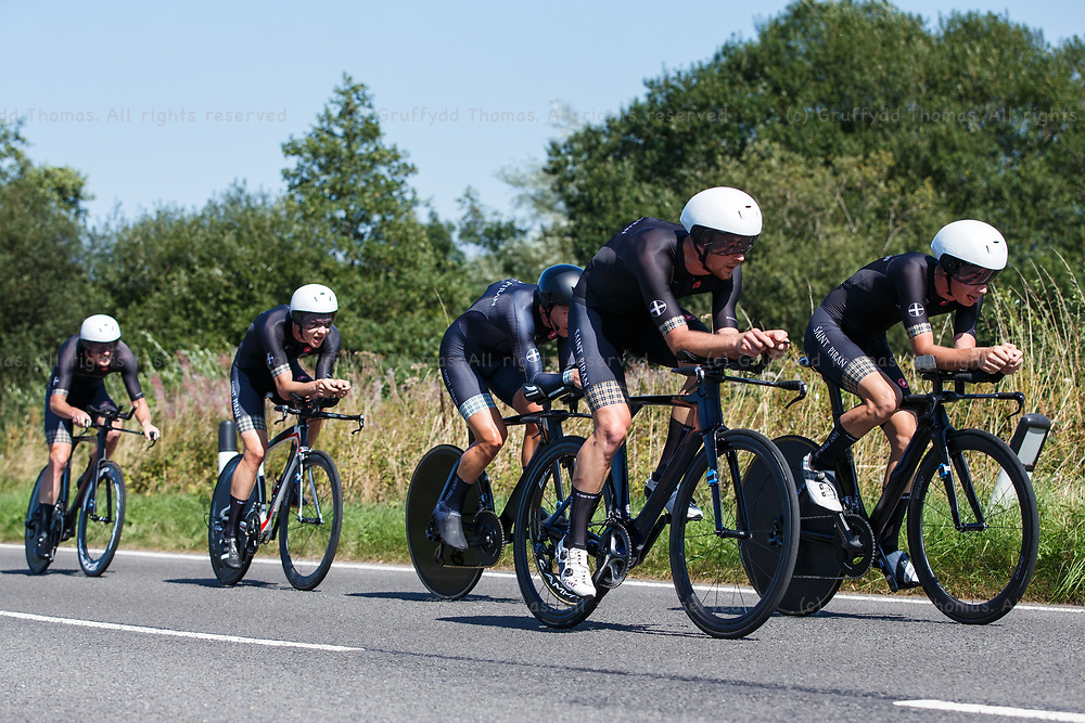National Botanic Garden of Wales, Llanarthne, Wales, UK. Tuesday 7 September 2021.  Stage 3 of the Tour of Britain cycling race. Team Saint Piran race through Carmarthenshire.<br /> Credit: Gruffydd Thomas/Alamy