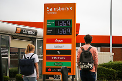 © Licensed to London News Pictures. 08/10/2021. London, UK. Sainsbury's petrol station in north London has increased the price of unleaded petrol by 3 pence per litre. The recent UK petrol supply crisis was caused by a shortage of HGV drivers, following the coronavirus pandemic and Brexit. Experts are predicting that motor fuel prices in the UK could reach an all-time high in the run-up to Christmas. Photo credit: Dinendra Haria/LNP