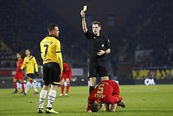 (L-R) Giovanni Korte of NAC Breda, referee Jochem Kamphuis, Thomas Ouwejan of AZ during the Dutch Eredivisie match between NAC Breda and AZ Alkmaar at the Rat Verlegh stadium on February 17, 2018 in Breda, The Netherlands