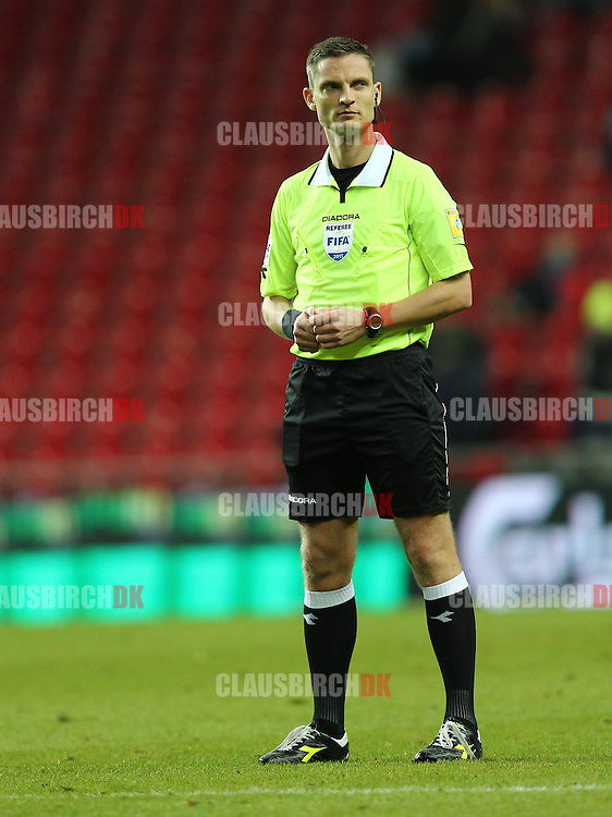 Referee Anders Poulsen looks on during the Danish DBU Pokalen Cup match between FC København and Randers FC at Telia Parken on March 5, 2015 in Copenhagen, Denmark. (Photo by Claus Birch)