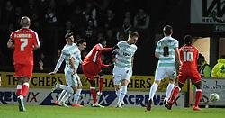Walsall's Jordy Hiwula scores his sides goal - Photo mandatory by-line: Harry Trump/JMP - Mobile: 07966 386802 - 03/03/15 - SPORT - Football - Sky Bet League One - Yeovil v Walsall - Huish Park, Yeovil, England.