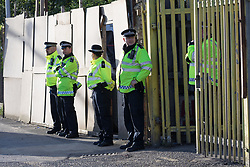 June 5, 2017 - London, London, UK - LONDON, UK.  Police officers stand outside a residential property close to the Ship and Shovel pub in Dagenham this morning, where armed officers had been seen first thing. Police carried out a raid at a Dagenham address early this morning in connection with the London Bridge terror attacks and residents reported hearing gun shots. (Credit Image: © Vickie Flores/London News Pictures via ZUMA Wire)