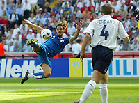 Photo: Chris Ratcliffe.<br /> England v Paraguay. Group B, FIFA World Cup 2006. 10/06/2006.<br /> Julio Cesar Caceres of Paraguay sees a shot go just over.