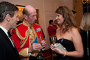 THE DUKE OF KENT; ALEXA JAGO;  Charity Dinner in aid of Caring for Courage The Royal Scots Dragoon Guards Afganistan Welfare Appeal. In the presence of the Duke of Kent. The Royal Hospital, Chaelsea. London. 20 October 2011. <br /> <br />  , -DO NOT ARCHIVE-© Copyright Photograph by Dafydd Jones. 248 Clapham Rd. London SW9 0PZ. Tel 0207 820 0771. www.dafjones.com.