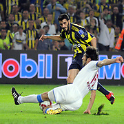 Fenerbahce's Daniel Gonzalez GUIZA (B) and Trabzonspor's Egemen KORKMAZ (F) during their Turkish superleague soccer derby match Fenerbahce between Trabzonspor at the Sukru Saracaoglu stadium in Istanbul Turkey on Sunday 16 May 2010. Photo by TURKPIX