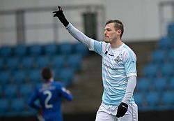Nicolas Mortensen (FC Helsingør) jubler efter scoringen til 2-1 under træningskampen mellem FC Helsingør og HB Køge den 22. februar 2020 på Helsingør Ny Stadion (Foto: Claus Birch).