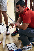 NORTH AUGUSTA, SC. July 10, 2019. Coach talks to his team at Nike Peach Jam in North Augusta, SC. <br /> NOTE TO USER: Mandatory Copyright Notice: Photo by Eric Delgado / Jon Lopez Creative /Nike
