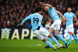 31 December 2017 -  Premier League - Crystal Palace v Manchester City - Leroy Sane and Kevin De Bruyne of Manchester City challenge for the same ball - Photo: Marc Atkins/Offside