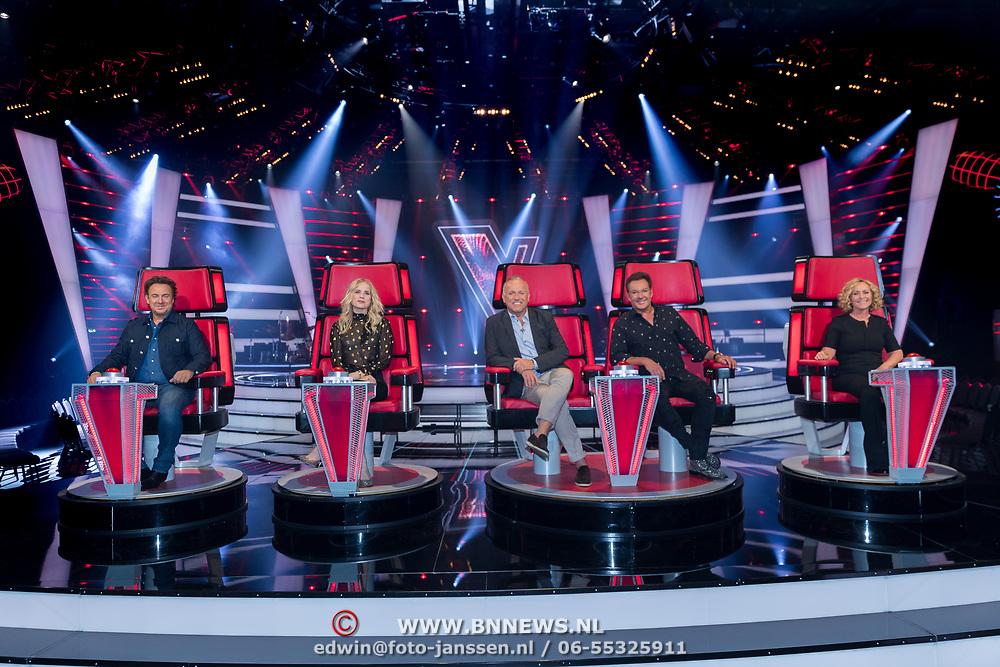 NLD/Hilversum/20180618 - Presentatie Jury The Voice Sr., Marco Borsato,  Ilse DeLange, Angela Groothuizen, Gerard Joling, Gordon Heuckeroth