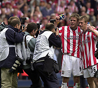 Copyright Sportsbeat. 0208 3926656<br />Picture: Henry Browne<br />Date: 13/04/2003<br />Watford v Southampton FA Cup Semi Final<br />James Beattie and Brett Ormerod celebrate at the end of the game