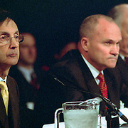 """From left: Joseph F. Bruno, Commissioner of the New York City Office of Emergency Management; Raymond """"Ray"""" Kelly, Commissioner of the New York Police Department; Nicholas Scoppetta, Commissioners of the Fire Department of New York (FDNY), testifying at the 9/11 Commission's 11th Public Hearing in New York City."""