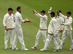 Durham's John Hastings celebrates taking his second wicket of the day with Durham's Paul Collingwood and the rest of his teammates - Photo mandatory by-line: Robbie Stephenson/JMP - Mobile: 07966 386802 - 03/05/2015 - SPORT - Football - London - Lords  - Middlesex CCC v Durham CCC - County Championship Division One