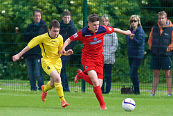 NEWPORT, WALES - Wednesday, May 27, 2015: North WPL Academy Boys' Lloydd Hughes and Central WPL Academy Boys' Osian Jones (Porth) [L] during the Welsh Football Trust Cymru Cup 2015 at Dragon Park. (Pic by David Rawcliffe/Propaganda)