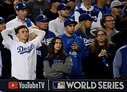 November 1, 2017 - Los Angeles, California, U.S. - Los Angeles Dodger fans look on in the 5th  inning of game seven of a World Series baseball game at Dodger Stadium on Wednesday Nov. 1, 2017 in Los Angeles. (Photo by Keith Birmingham, Pasadena Star-News/SCNG) (Credit Image: © San Gabriel Valley Tribune via ZUMA Wire)