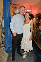 LAVINIA BRENNAN and JAMIE RICHARDS at the launch of AYA jewellery by Chelsy Davy held at Baar & Bass, 336 Kings Road, London on 21st June 2016.