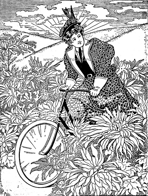 End of the 19th Century free spirit woman on a bike from On the road to health and happiness by Charles A. Vogeler Company [Advertising] Publication date 1897