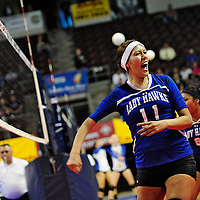 111612  Adron Gardner<br /> <br /> Laguna Acoma Hawk Aubree Carr (11) celebrates after scoring on the  Hatch Valley Bears during the state volleyball quarterfinals at the Santa Ana Star Center in Rio Rancho Friday.