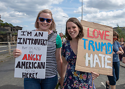 Protestors take part in a demonstration against the visit of US President Donald Trump to the UK. The march starts outside the Scottish Parliament, passing the US Consulate before finishing in the Meadows area of the city.