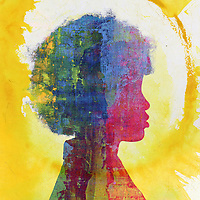 Colorful Woman silhouette with yellow sun stain.