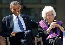 President Barack Obama sits with Barbara Bush during dedication ceremonies for the new George W. Bush Presidential Center in Dallas, Texas, USA, Thursday, April 25, 2013. Photo by Paul Moseley/Fort Worth Star-Telegram/MCT/ABACAPRESSS.COM  | 362274_021 Dallas Etats-Unis United States