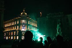 Green Dragons, ultras supporters of Ljubljana's football, basketball and ice-hockey clubs Olimpija celebrating 30th anniversary in City Centre, on October 2, 2018 at Preseren Square, Ljubljana, Slovenia. Photo by Matic Klansek Velej / Sportida