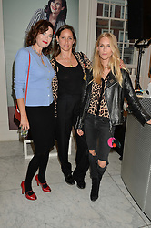Left to right, JASMINE GUINNESS, ROSEMARY FERGUSON and LADY MARY CHARTERIS at the launch of the 'Jasmine for Jaeger' fashion collection by Jasmine Guinness for fashion label Jaeger held at Fenwick's, Bond Street, London on 9th September 2015.