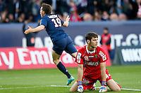 FOOTBALL - FRENCH CHAMPIONSHIP 2012/2013 - L1 - PARIS SAINT GERMAIN VS SOCHAUX - 29/09/2012 - SIMON POUPLIN (SOCHAUX), KEVIN GAMEIRO (PARIS SAINT-GERMAIN)