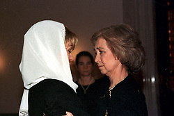 Queen Noor of Jordan receives Queen Sofia (or Sophia) of Spain during King Hussein's funeral at the Royal palace in Amman, Jordan on February 8, 1999. Twenty years ago, end of January and early February 1999, the Kingdom of Jordan witnessed a change of power as the late King Hussein came back from the United States of America to change his Crown Prince, only two weeks before he passed away. Photo by Balkis Press/ABACAPRESS.COM