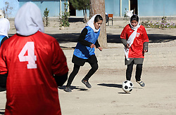 Girl's Soccer for peace football team supported by NCA in Maymana, Faryab province Afghanistan