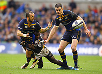 Rugby Union - 2016 / 2017 European Rugby Champions Cup - Quarter-Final: Leinster vs. Wasps<br /> <br /> Leinster's Jamison Gibson-Park is tackled by Christian Wade of Wasps , at the Aviva Stadium, Dublin.<br /> <br /> COLORSPORT/KEN SUTTON