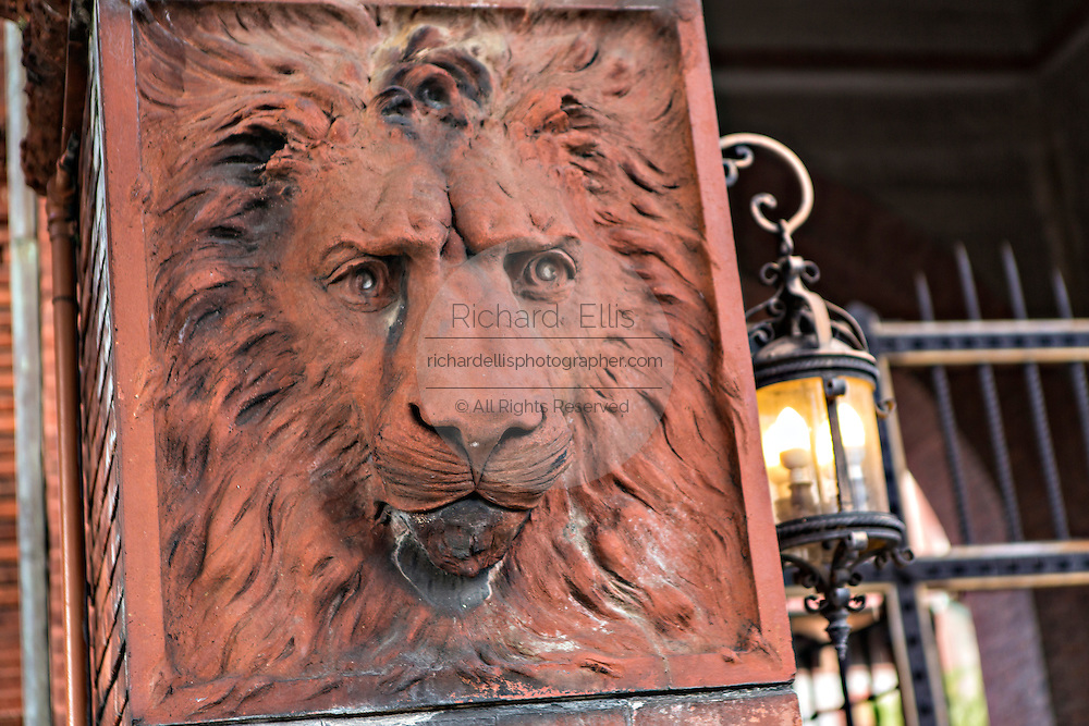 Lion stone detail at Flagler College in St. Augustine, Florida. The building was originally the Ponce de Leon Hotel.