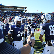 Yale player Kahlil Keys during the seniors presentation of players making their final appearance before the Yale Vs Princeton, Ivy League College Football match at Yale Bowl, New Haven, Connecticut, USA. 15th November 2014. Photo Tim Clayton