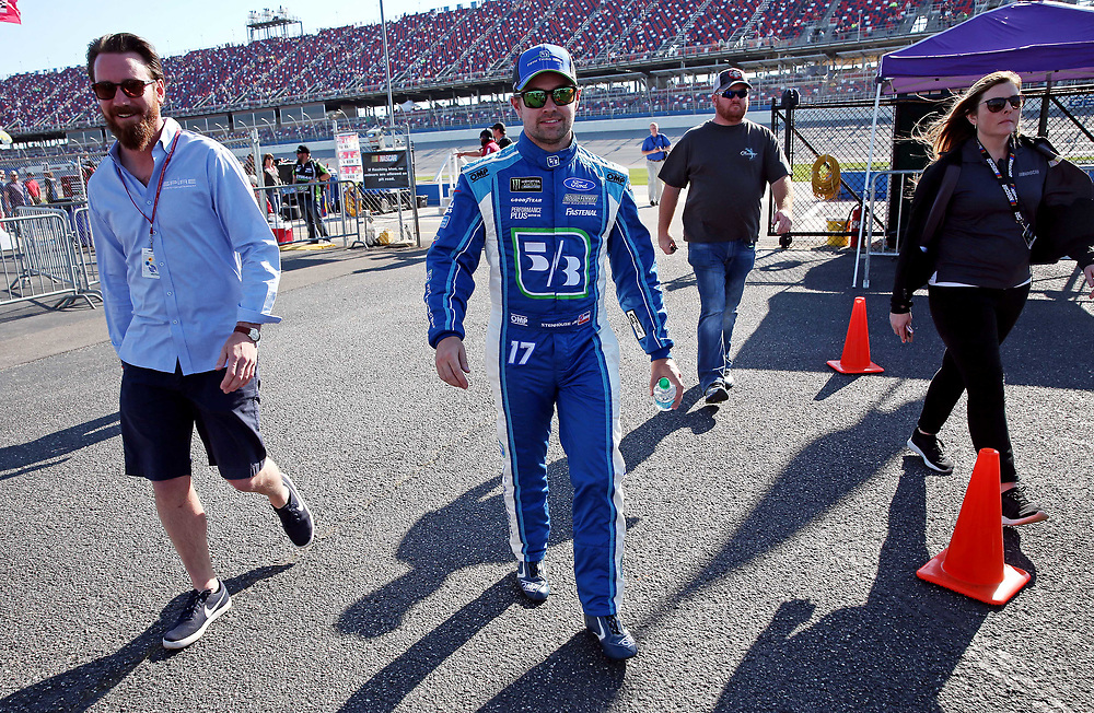 May 6, 2017; Talladega, AL, USA; NASCAR Cup Series driver Ricky Stenhouse Jr. (17) after winning the pole during qualifying for the GEICO 500 at Talladega Superspeedway. Mandatory Credit: Peter Casey-USA TODAY Sports