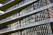Reflection of a new modern architecture buildings in along Upper Thames Street in London, England, United Kingdom.