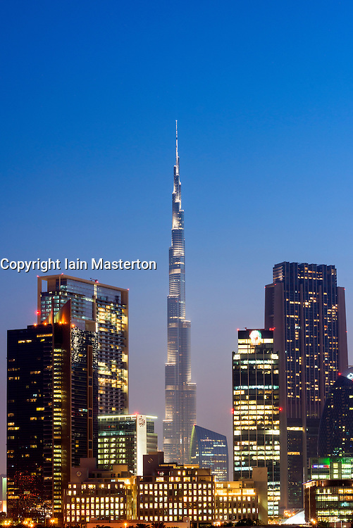 Evening view of Burj Khalifa tower and skyline of financial and business district of Dubai in United Arab Emirates
