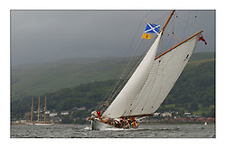Moonbeam IV, practices before the racing in Largs Channel...This the largest gathering of classic yachts designed by William Fife returned to their birth place on the Clyde to participate in the 2nd Fife Regatta. 22 Yachts from around the world participated in the event which honoured the skills of Yacht Designer Wm Fife, and his yard in Fairlie, Scotland...FAO Picture Desk..Marc Turner / PFM Pictures