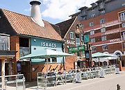 People sitting outside newly reopened Isaacs pub on the waterfront, Wet Dock, Ipswich, Suffolk, England, UK July 2020
