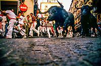 Encierro (Running of the Bulls), Fiesta of San Fermin, Pamplona, Spain.