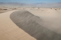 A strong wind on the sand dunes in Saline Valley, Death Valley National Park, California
