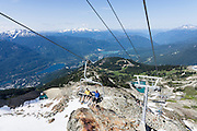 Hikers view the Coast Range from Peak Express chairlift above the Resort Municipality of Whistler, British Columbia, Canada.